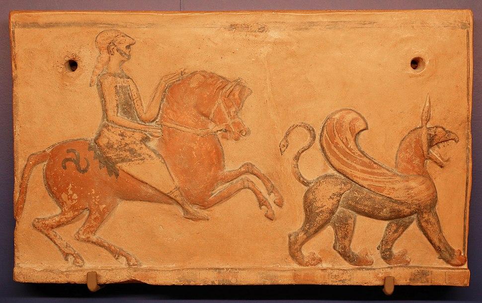 Frigia, placca con cavaliere e grifone, 600-550 ac ca