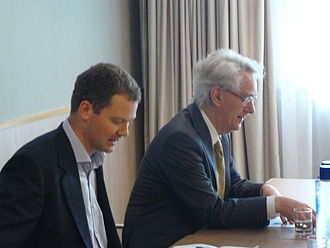 Andrew Stunell - Stunell (right) with Neil O'Brien at Conservative Party conference in 2011