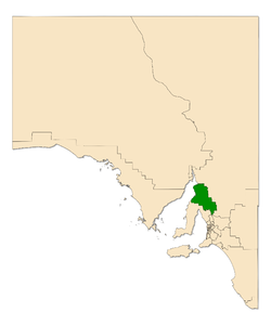 Map of South Australia with electoral district of Frome highlighted