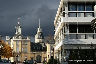 Karlsruhe Institute of Technology - Karlsruhe Palace at left and the Faculty for Business and Economics of the Karlsruhe Institute of Technology on the right