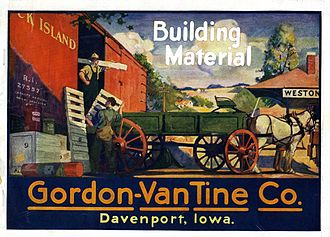 Kit house - Cover of a 1922 catalog published by Gordon-Van Tine, showing building materials being unloaded from a boxcar
