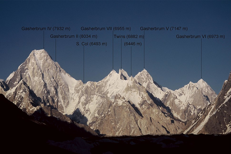 Gasherbrum group westfaces annotated