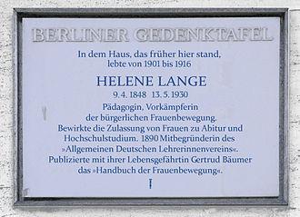 Helene Lange - Porcelain Berlin Memorial Plaque on the house at Kunz-Buntschuh-Straße 7 in Grunewald