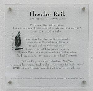 Theodor Reik - Memorial plaque, Berlin.