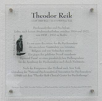 Theodor Reik - Memorial plaque, Berlin.