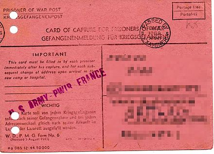 US Army: Card of capture for German POWs – front Gefangenen-Meldung Vorderseite.jpg