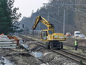 Stralsund–Rostock railway - Construction work in Gelbensande station