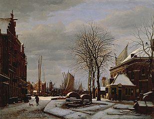 Slijpsteenmarkt (Whetstone Market) in Amsterdam with the Building 'Het Zeerecht' in Winter (The Slypsteenen at Amsterdam)
