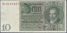 Banknote of 10 Reichsmark, 1929 (Source: Wikimedia)