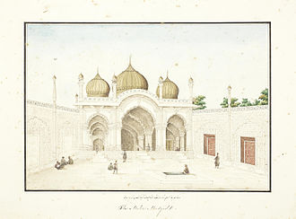 Moti Masjid (Red Fort) - Painting of the mosque in the 1850s, by Ghulam Ali Khan