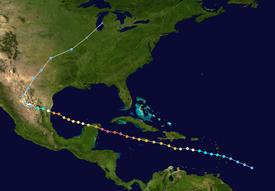 Dieses Bild ist eine Satellitenverfolgung des Hurrikans Gilbert.  Beachten Sie, dass unterschiedliche Farben der Punkte unterschiedliche Kategorien darstellen.