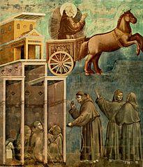 Apparition de saint François sur un char de feu