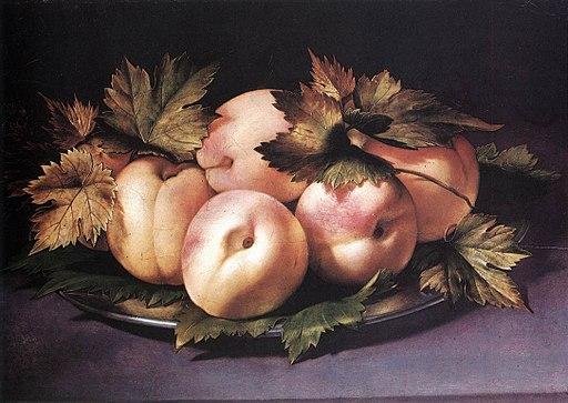 Giovanni Ambrogio Figino - Teller mit Pfirsichen