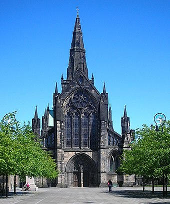 Glasgow Cathedral marks the site where Saint Mungo built his church and established Glasgow. Glasgow-cathedral-may-2007.jpg