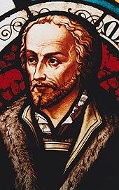 Philipp Melanchthon in einer Glasmalerei (Quelle: Wikimedia)