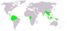 Map showing the range of Gnetum