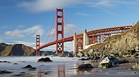 Golden Gate Bridge as seen from Marshall's Beach, March 2018.jpg