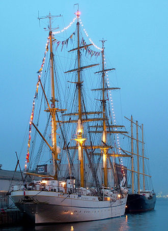 Gorch Fock (1958) - Gorch Fock at a pier in the evening.