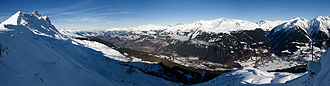 Klosters - Panoramic view from Gotschnagrat on Klosters Dorf (right), Serneus (center) and Madrisahorn