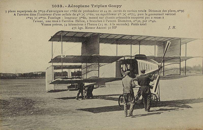 최초의 3층 날개 비행기인 Goupy No.1