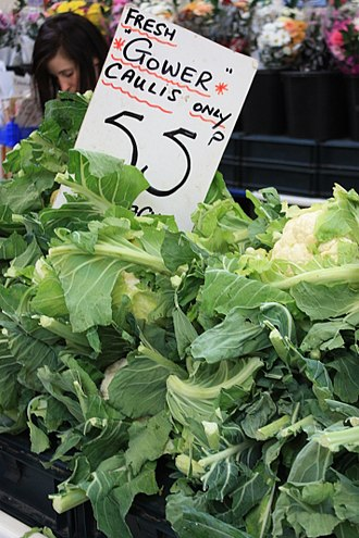 Cuisine of Gower - Gower cauliflowers on sale at a Swansea Market stall