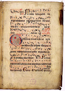 """Gaudeamus omnes,"" from the Graduale Aboense, was scripted using square notation."