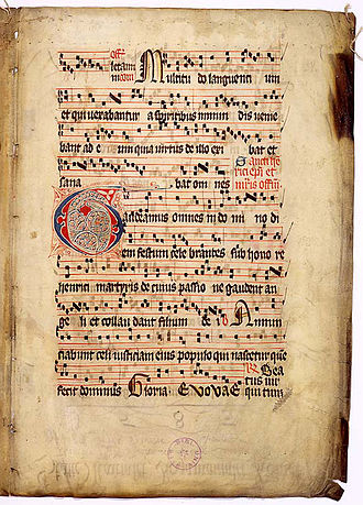 "Neume - ""Gaudeamus omnes,"" from the Graduale Aboense, was scripted using square notation."
