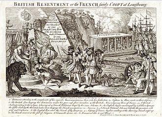 Siege of Louisbourg (1758) - Image: Gravure anglaise propagande contre Louisbourg et la Canada francais en 1755