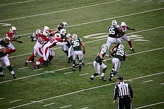 2012 New York Jets season - Greg McElroy hands off to Bilal Powell against Arizona Cardinals in week 13 of the 2012 season