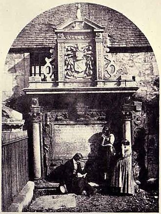 Greyfriars Kirkyard - Hill & Adamson photograph dated 1848, showing D O Hill sketching at the Dennystoun Monument, watched by the Misses MorCris.