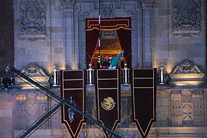 Cry of Dolores - President Felipe Calderón at the National Palace balcony during the bicentennial Grito in 2010.