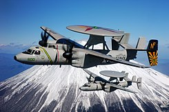 Grumman E-2C Hawkeyes of VAW-115 fly past Mount Fuji on 15 February 2007 (070215-N-2604L-024).jpg