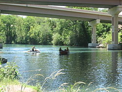 Guadalupe River under Interstate 35 in New Braunfels
