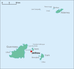 This is a map of the Bailiwick of Guernsey. Jethou is just south of Herm.