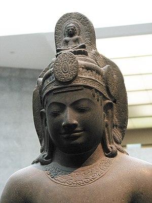 Buddhism in Cambodia - Cambodian statue of Avalokiteśvara Bodhisattva. Sandstone, 7th century CE.