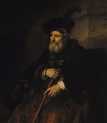 Rembrandt: Seated old man with a cane in fanciful costume