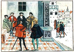 Christian III of Denmark - First Treaty of Brömsebro: Christian III's meeting with Gustav I of Sweden in Brömsebro, 1541 (watercolor reproduction of a lost painting made during the Swedish King's reign)