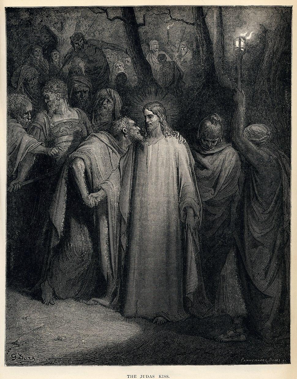 Gustave Doré - The Holy Bible - Plate CXLI, The Judas Kiss