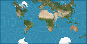 Guyou hemisphere-in-a-square projection - Guyou doubly periodic projection of the world.