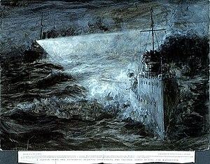 HMS Derwent (1903) - Destroyer Derwent at torpedo practice by W L Wyllie (1904)