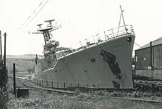 HMS Tenby (F65) - HMS Tenby at Thos W Ward's Scrapyard, Briton Ferry, 1979