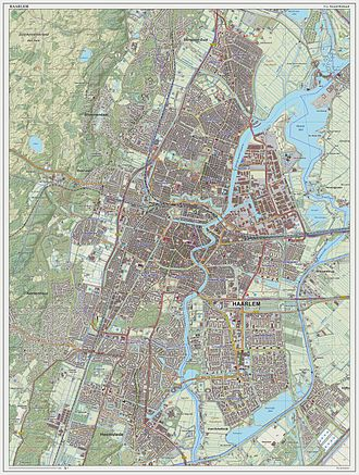 Haarlem - Topographic map image of Haarlem (city), March 2014