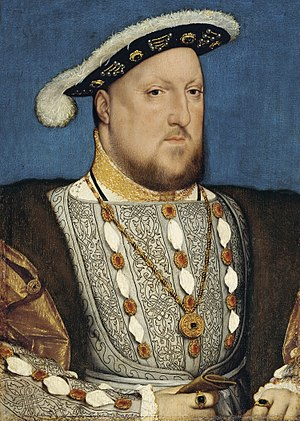 History of Ireland (1536–1691) - Henry VIII  King of England and Ireland, who founded the Kingdom of Ireland and began the English re-conquest of the country, by Hans Holbein the Younger
