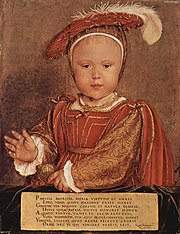 Prince Edward in 1538Painting by Hans Holbein