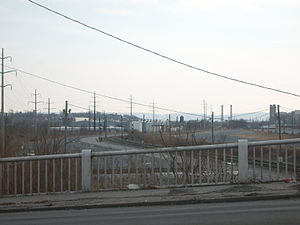Harrisburg Intermodal Yard - View of the Harrisburg Intermodal Yard from Maclay Street Bridge in Harrisburg, Pennsylvania.