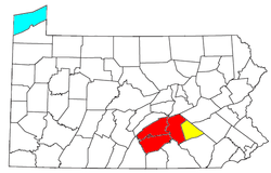 Map of the Harrisburg–Carlisle–Lebanon CSA, composed of the following parts:   Harrisburg–Carlisle metropolitan statistical area   Lebanon metropolitan statistical area