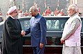 Hassan Rouhani being received by the President, Shri Ram Nath Kovind and the Prime Minister, Shri Narendra Modi, at the Ceremonial Reception, at Rashtrapati Bhavan, in New Delhi.jpg