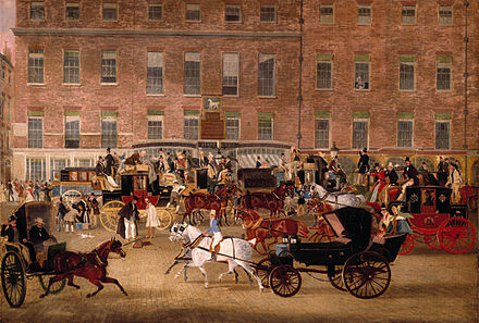 Piccadilly scene Hatchetts - the White Horse Cellar, Piccadilly by James Pollard.jpg