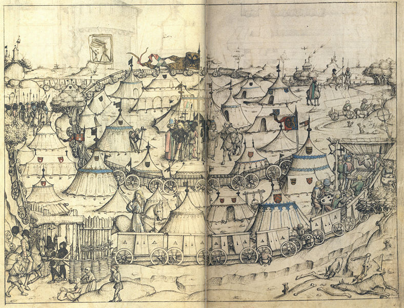 L'image du jour : Camps millitaire vers 1480 788px-Hausbuch_Wolfegg_53r_53r1_Heerlager