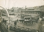 Hearses lined up on Halifax wharf to carry RMS Titanic victims to funeral parlours, Halifax, Nova Scotia, Canada, 6 May, 1912.jpg